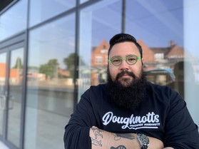 Owner of Doughnotts Dan Byrne in front of retail unit