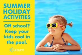 Summer holiday activities, off school? Keep your kids cool in the pool with image of girl wearing sun glasses in a pool