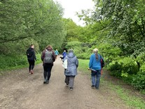 Tenants on a walk and talk session at Bramcote hills park