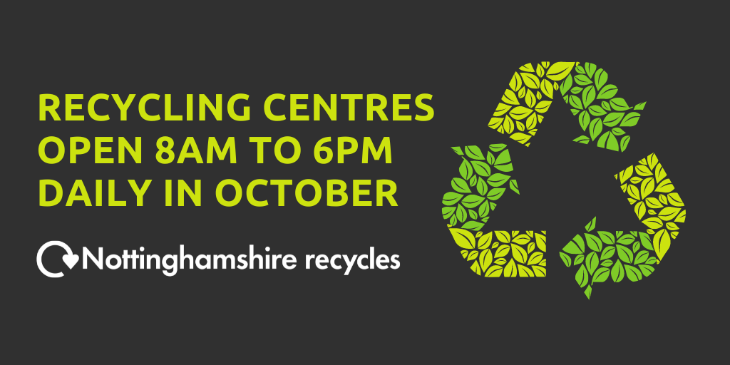 Recycling centres open 8am-6pm daily in October