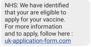 NHS Vaccine Scam Text
