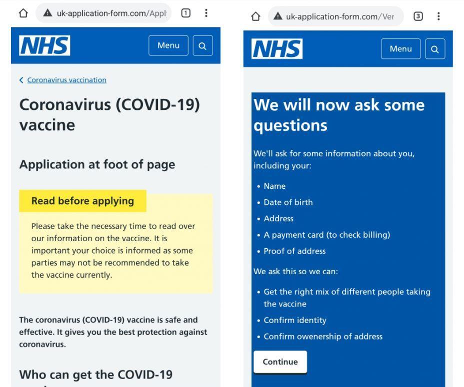 Bogus NHS Vaccine Webpage