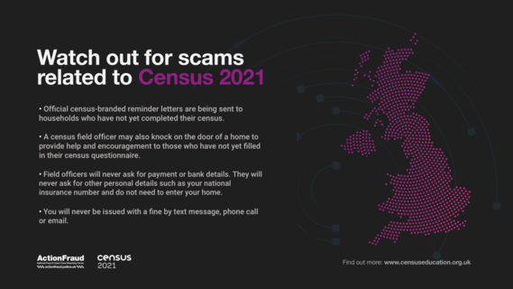 Action Fraud warnings about scams related to Census 2021