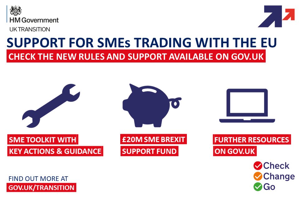 Support for SMEs trading with the EU. Check the new rules and support available on GOV.UK