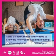 A picture showcasing the #KeepCoventryMoving campaign, with reference to @CovSport social media handles