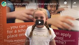 A video encouraging parents to apply for a primary school place