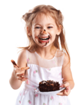 picture of a young girl with chocolate on her face