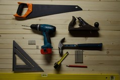 DIY tools laid out on a table
