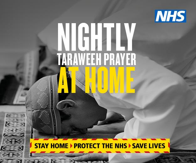 PHE graphic nightly taraweeh prayer at home