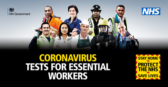 Essential workers pictured above the text 'Coronavirus tests for essential workers'