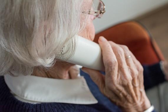 elderly lady talking on the phone