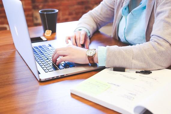 lady using a laptop
