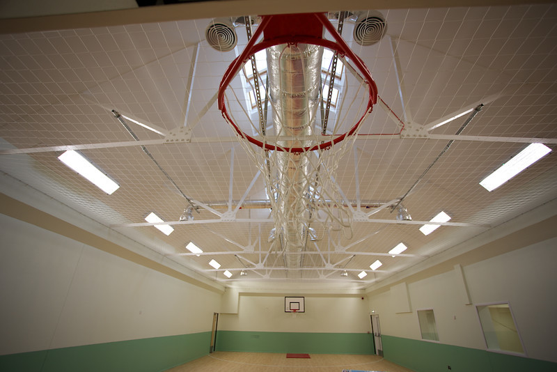 basket ball hoop in sports hall