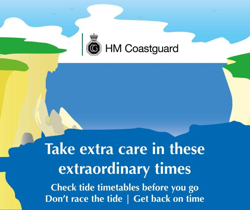 HM Coastguard graphic saying take care