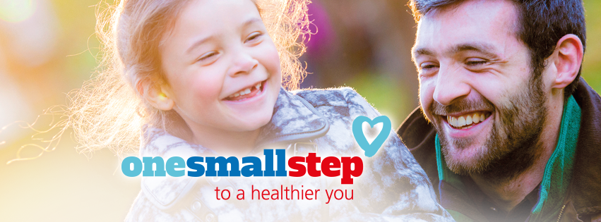 Dad pictured smiling with daughter one small step campaign graphic