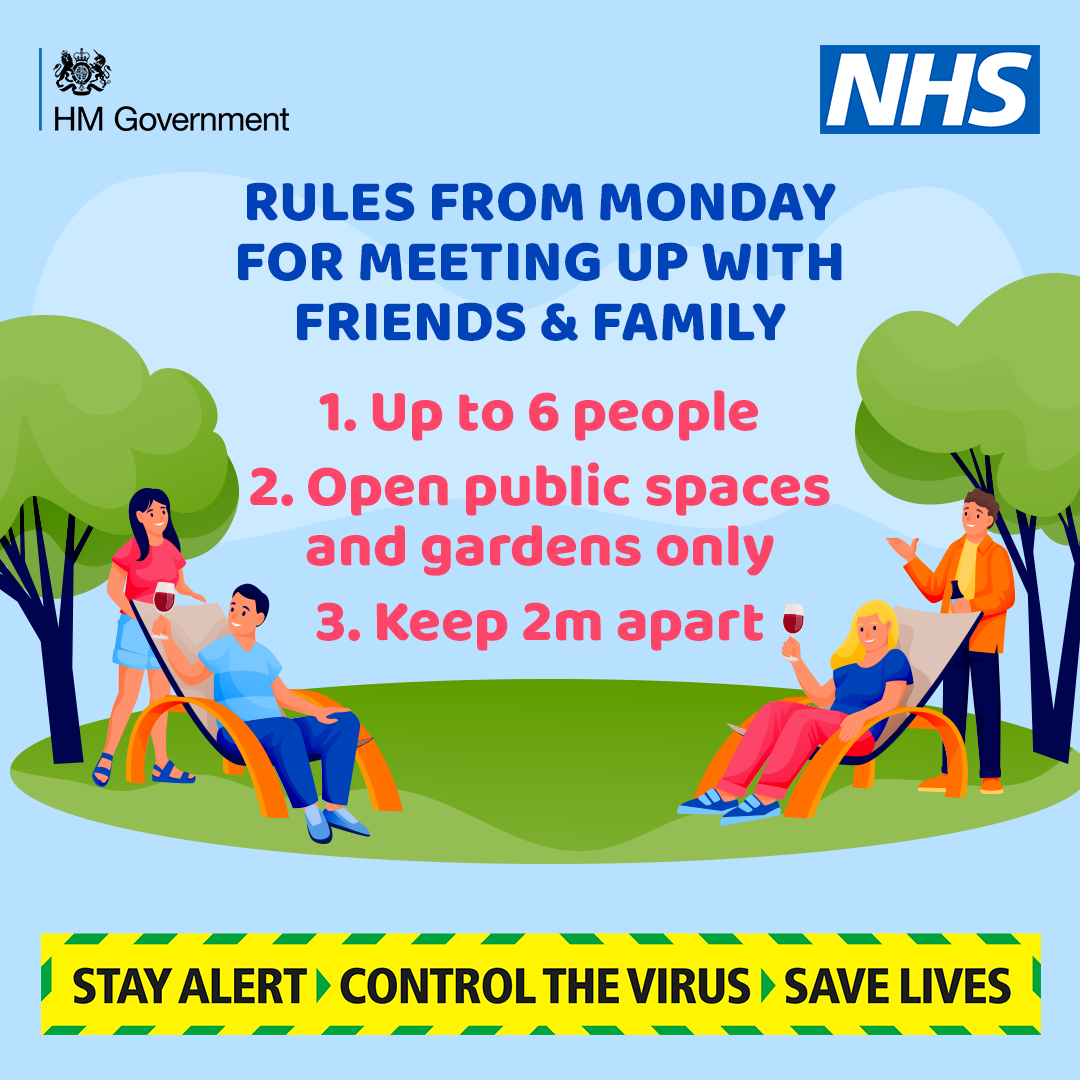 Government guidance about being outside with friends graphic