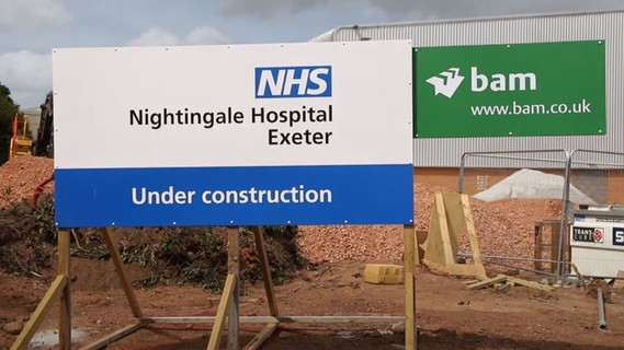 NHS Nightingale Exeter under construction sign