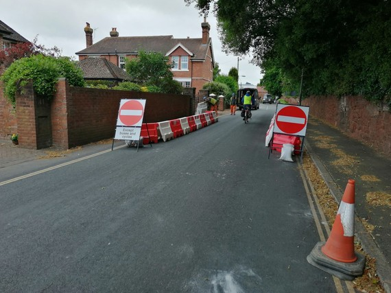 no entry signs on road where cycling and walking measures have been introduced