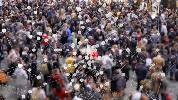 crowd of people with dots and lines linking them to show connections