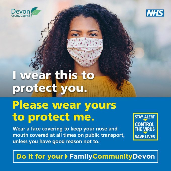 lady wearing a face covering - do it for Devon