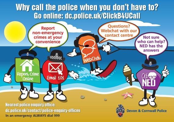 Devon & Cornwall Police ClickB4UCall graphic
