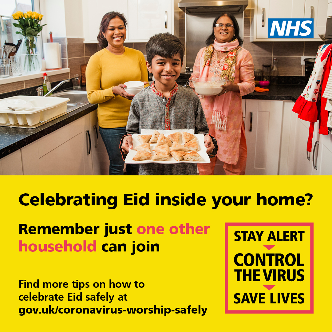 Celebrating Eid inside your home? Remember just one other household can join. Government poster.