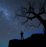 Man against a starry sky