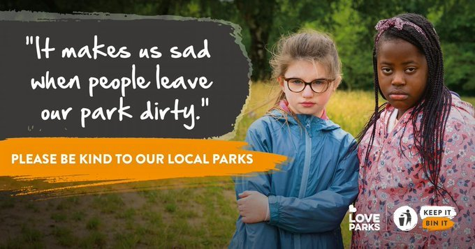 """two young girls looking cross with the text """"it makes us sad when people leave our park dirty"""""""