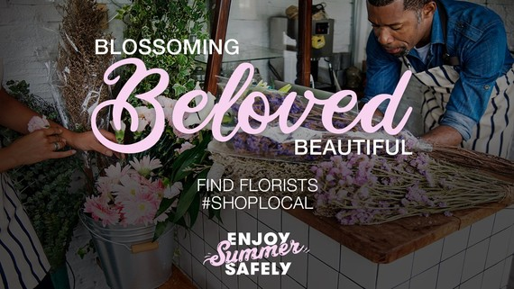 Man in flower shop with the words 'blossoming, beloved, beautiful'