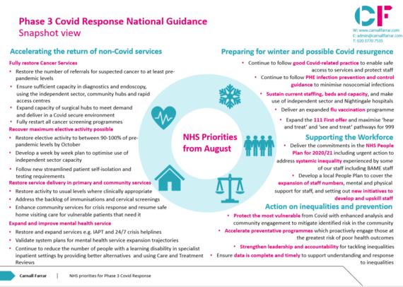 NHS priorities from August