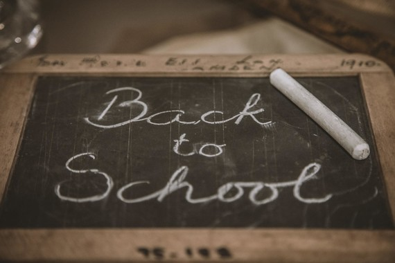 Back to School written in chalk on a board