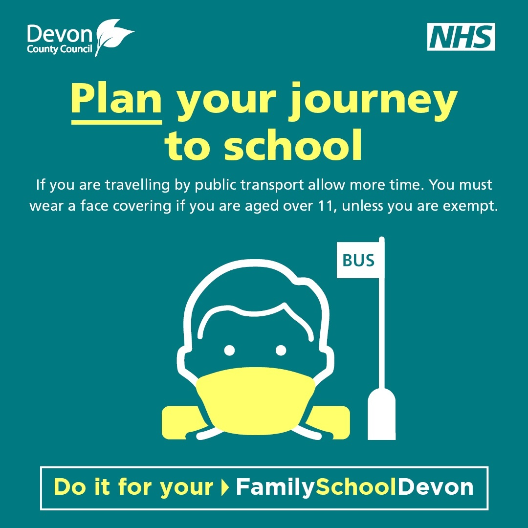 Plan  your journey to school - artist image of child's face with mask and a bus stop sign