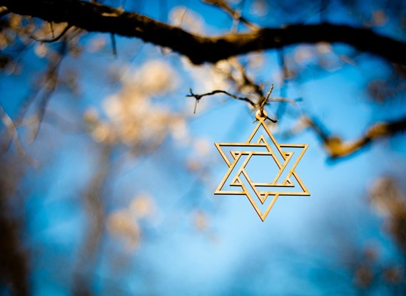 Star of David hanging in a tree