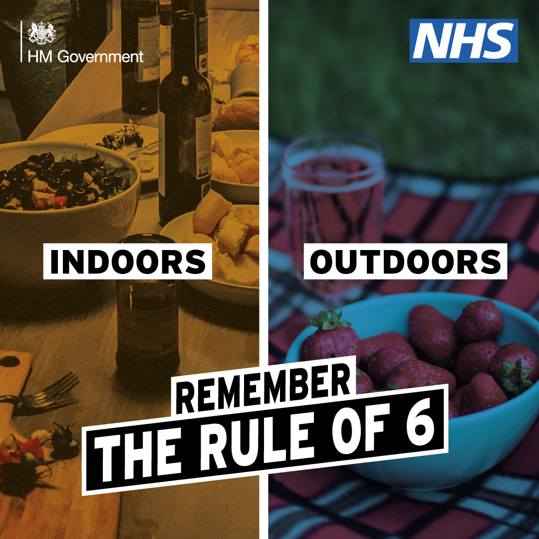 Indoors and outdoors, remember the rule of six