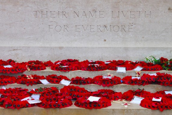 remembrance wreaths on a memorial