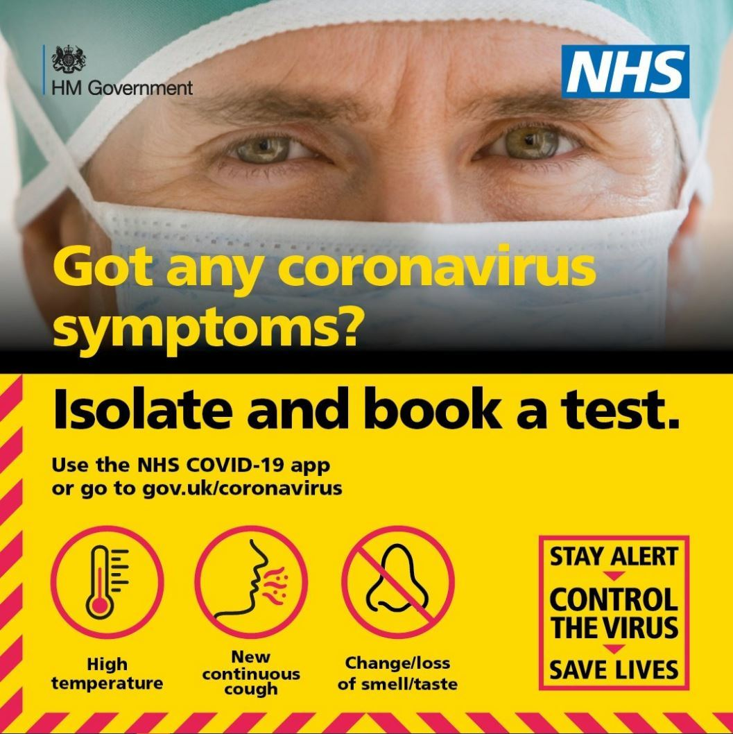 Got any coronavirus symptoms? Isolate and book a test