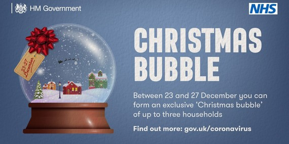 Between 23 and 27 December you can form an exclusive Christmas bubble of up to three households visit gov.uk/coronavirus to find out more