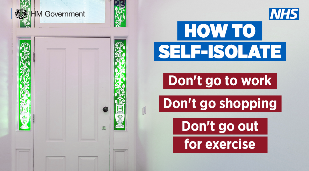 How to self isolate. Don't go to work, don't go shopping, don't go out for exercise.
