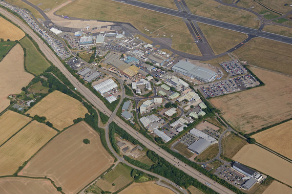 Aerial view over Exeter Airport and adjacent AirPark, a new Exeter and East Devon Enterprise Zone site