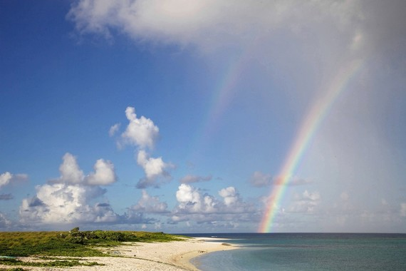 rainbow over beach