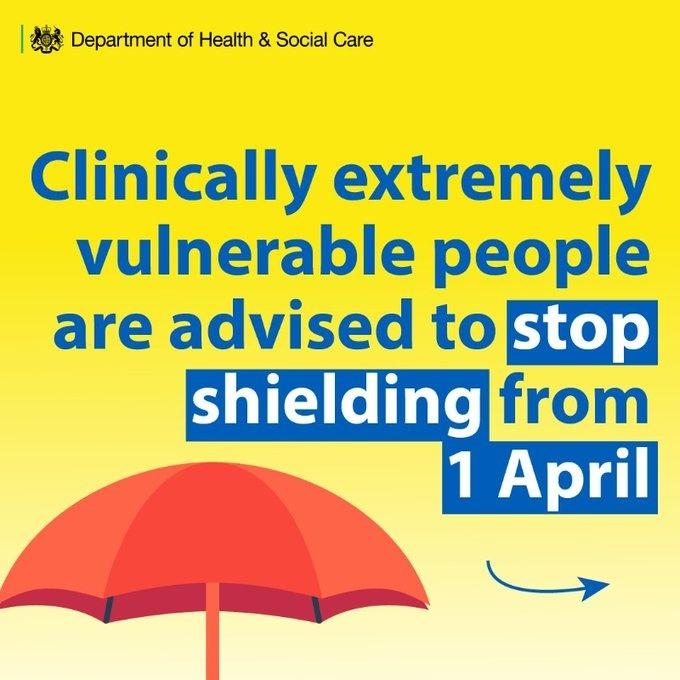 Shielding advice ends 1 April