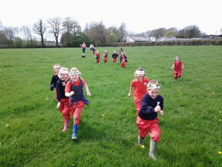 Pupils of Woolsery Primary School in Bideford showing off their nature crowns