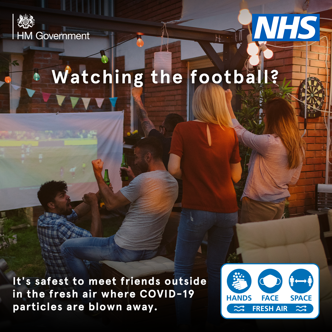 The safest place to meet friends to watch the football is outside
