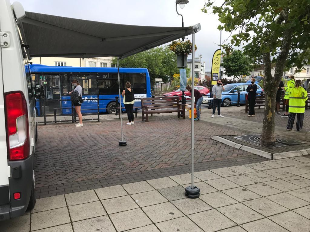mobile testing and vaccination unit in Kingbridge town square