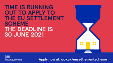 EU settlement scheme deadline is approaching, sand timer shows time is running out