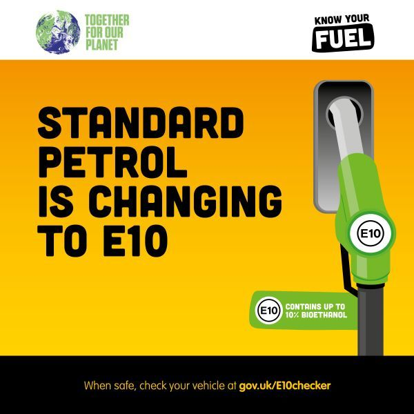 Standard petrol is changing to E10