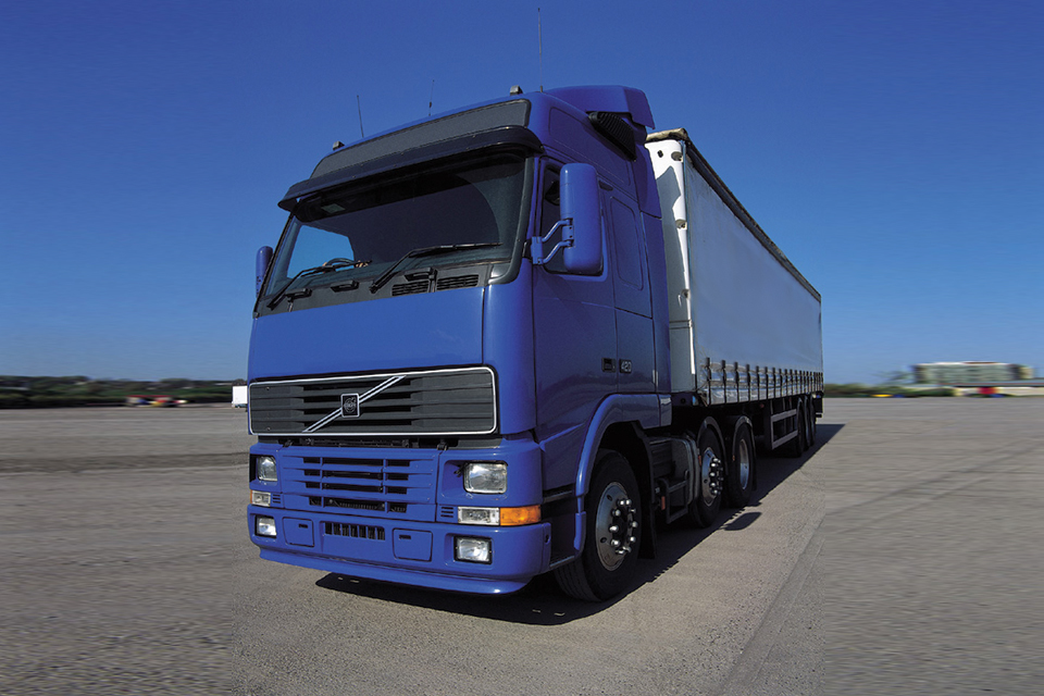 Blue lorry on road