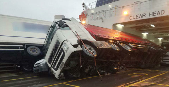 Lorry toppled over on ferry