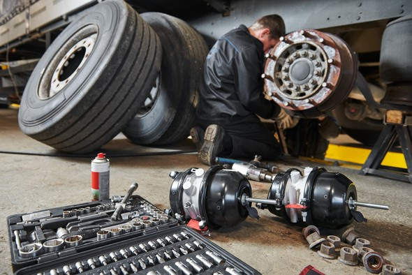 Wheels being worked on in a lorry workshop