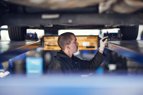 Checking under car - MOT